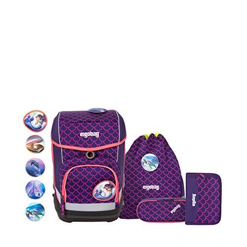 ergobag cubo Set - ergonomischer Schulrucksack, Set 5-teilig - PerlentauchBär - Lila