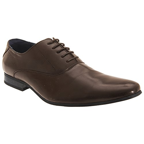 Route 21 Hombre 5 Ojete Liso Oxford Corbata Zapatos - Marrón Alto Brillo Poliuretano, 12 UK