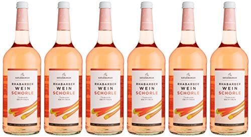Katlenburger Rhabarberwein Schorle Fruchtweinschorle Süß, 6er Pack (6 x 1 l)