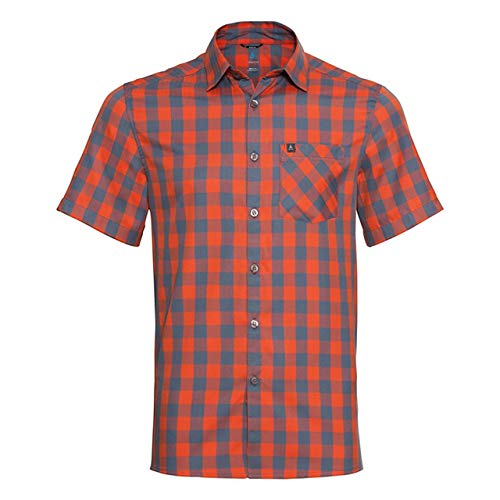 Odlo Herren Mythen Kurzarm-Hemd, Mandarin red - China Blue - Check, XXL