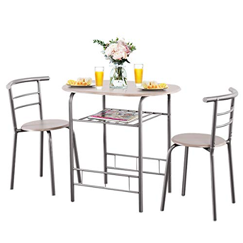 Giantex 3 Piece Dining Set Compact 2 Chairs and Table Set with Metal Frame and Shelf Storage Bistro Pub Breakfast Space Saving for Apartment and Kitchen (Beech)
