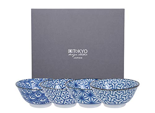 Tokyo Design Studio Kristal, 4cuencos 15cm, en Juego, Color Azul y Blanco