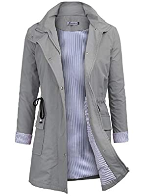 Twinklady Rain Jacket Women Windbreaker Striped Climbing Raincoats Waterproof Lightweight Outdoor Hooded Trench Coats Grey S