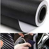YOUNICER Coche 3D Negro Envoltura de Fibra de Carbono Rollo de Vinilo Accesorios Interiores del Coche película de Envoltura del automóvil calcomanías de Bricolaje automotriz
