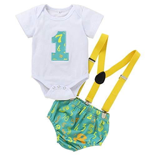 Conjunto de 3 piezas para bebé, para primer cumpleaños, con pajarita, pelele y pantalones, para boda, bautizo, esmoquin, disfraz de caballero, para sesión de fotos, disfraz verde 9-12 Meses