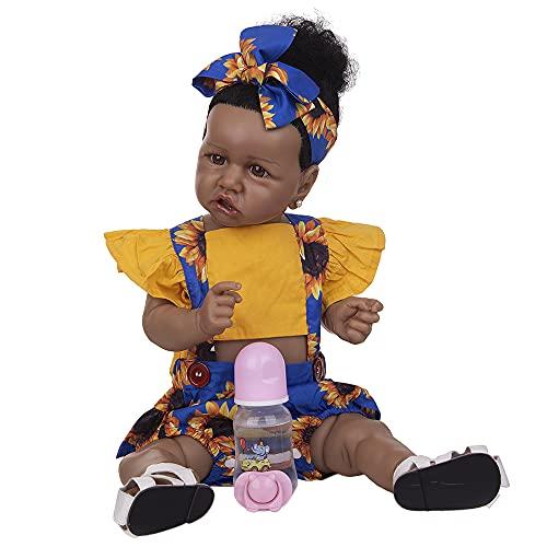 YIHANGG 57cm Muñecas Reborn 23 Pulgadas Realista Afroamericana De Silicona Muñeca Bebé Reborn Juguetes para Niños Pequeños Juguetes para Cumpleaños Niños XAMS Regalos