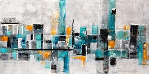 Cuadro Pintado Ciudad Abstracta con Gris, Ocre y Esmeralda, 140x70 cm 100% Original, sobre Lienzo.