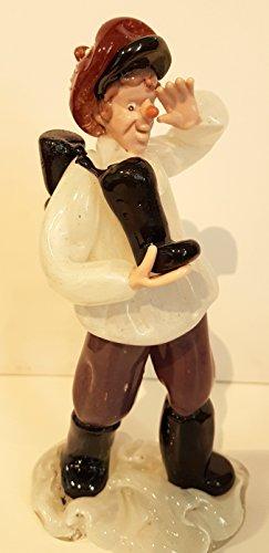 Figuur Boheemse glazen figuur groot antiek bont zeemann of knecht met laarzen handwerk verzamelaarsfiguur hoogte ca. 20 cm.