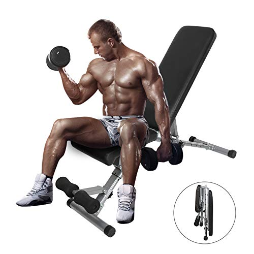 ER KANG Adjustable Weight Bench, 600 lbs Weight Capacity Foldable Workout Bench, Decline/Incline/Flat for Home Gym, Strength Training, Weightlifting