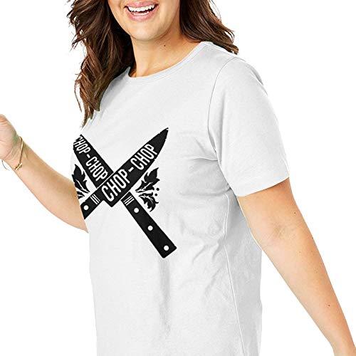 Camiseta de manga larga para mujer, color negro, Cuchillos de corte, XXL