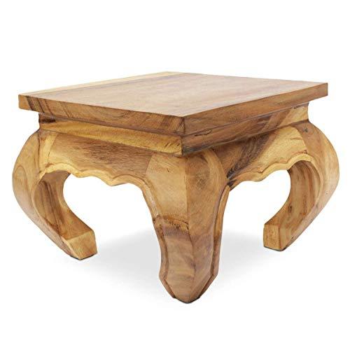 Oriental Galerie Opiumtisch Natur - 40cm Beistelltisch Tischchen Hocker Blumenhocker Akazienholz asiatischer Kleiner Tisch