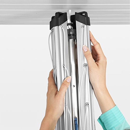 Brabantia Lift-O-Matic Rotary Airer Washing Line with 45 mm Metal Soil Spear and Accessories, Silver, 50 m
