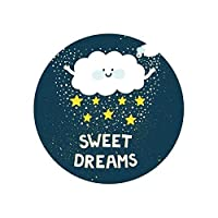カーペット 漫画雲スタームーンブルーグリーンラウンドカーペット子供部屋ノルディックベッドサイドマットボーイガールズルーム子供劇マットかわいい (Color : 2, Size : Diameter 100cm)