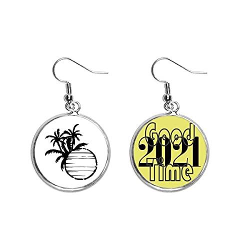Black Beach Coconut Tree Outline Pendientes Ear Pendants Jewelry 2021 Good Luck