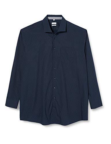 Seidensticker Herren Gepunktetes Hemd Mit Kent-Kragen Und Einem Hohen Regular Fit – Langarm Businesshemd, Blau (Dunkelblau 19), 43