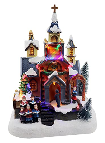 Christmas Village Church Scene Animated Congregation with Choir Pre-lit Musical Winter Snow Village Perfect addition to your Christmas Indoor Decorations & Christmas Village Displays