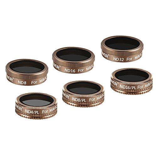 Neewer DJI Mavic Luftfilter 6er Pack ND8, ND16, ND 32, ND4/PL, ND8/PL, ND16/PL Aus Mehrfach beschichtem optischem Glas und Wasserdichten Aluminium Rahmen (Gold)