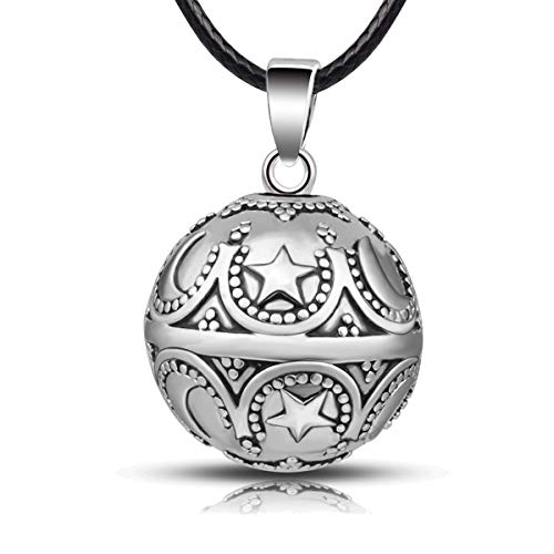 EUDORA Harmony Ball Moon and Star Music Chime Ball Pendant Necklace for Women Baby Girls Nice Jewellry Charming Gift, 45inch (Silver)
