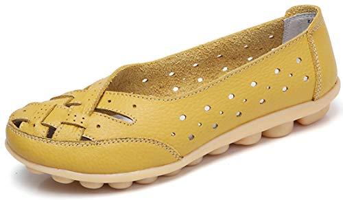 Mocasines para Mujer Ligero Loafers Casual Zapatillas Verano Zapatos del Barco Zapatos para Mujer Zapatos de Conducción Amarillo 36EU=37CN