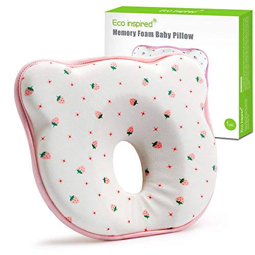 Eco inspired Baby Pillow for Newborn Prevent Flat Head Syndrome Memory Foam Baby Head Shaping Pillow Sleeping Pillow and Neck Support (0-12 Months, Pink)