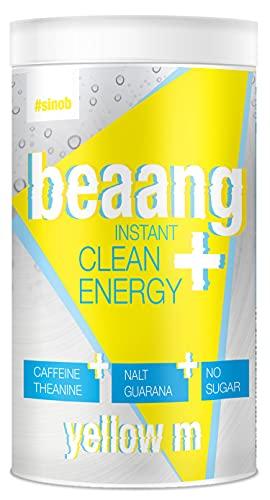 sinob BEAANG Instant Clean Energy Drink Pulver - Citrusfrucht - 1 x 300g mit Koffein, Theanin, NALT, Guarana und alle 8 EAAs. 100% Vegan und Ohne zugesetzten Zucker, Gluten oder Laktose