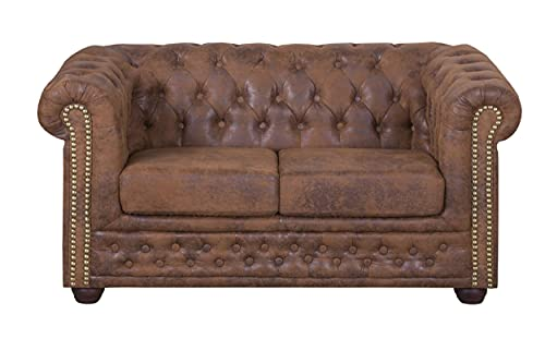 Küchen-Preisbombe Edles Chesterfield Sofa 2 Sitzer in Mikrofaser Vintage braun Couch Polstersofa