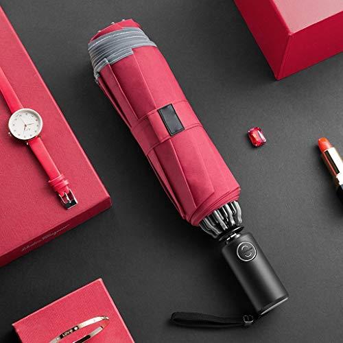 Dceer voiture parapluie automatique anti parapluie pluie parapluie double usage pliant parapluie automatique (Couleur : Red)