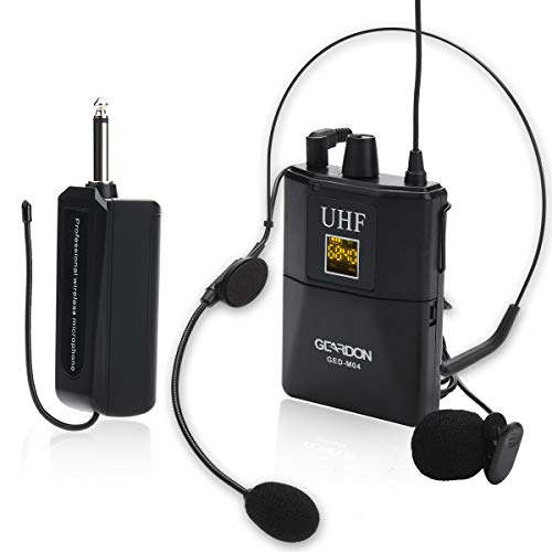 GEARDON Rechargeable Wireless Microphone System with Headset & Lavalier Lapel Mics, Wireless Microphone Set with Beltpack Transmitter&Receiver