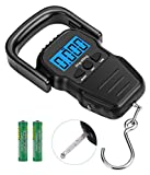 SUNGME Digital Fish Scale,Portable Luggage Scale for Travel,Electronic Balance Weight Hanging Hook Scale with Measuring Tape-110lb/50KG-Backlit LCD Display (2AAA Batteries Included)