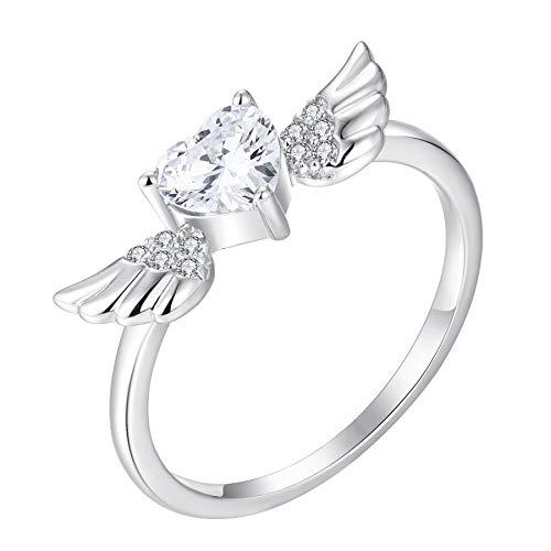 Starchenie Anillo alas de angelCirconita de Plata de ley 925 Anillo de Corazón para Mujer (Talla 14)