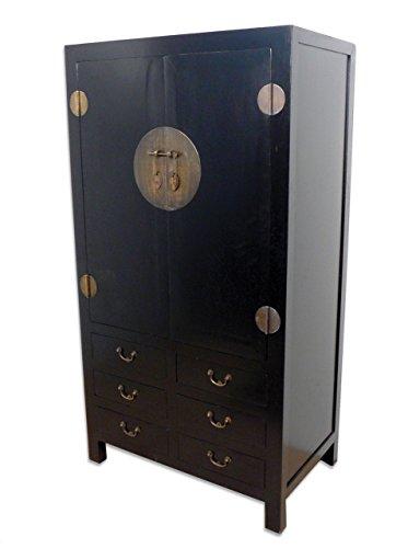 Das besondere Wohnen - Temesso Chinesischer Schrank, Hochzeitsschrank (schwarz)