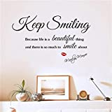 Art Wall Sticker Beauty Salon Red Lips Keep Smiling Quotes Wall Decals Vinyl Wall Stickers Interior Living Room Bedroom Decor Mural AM 106