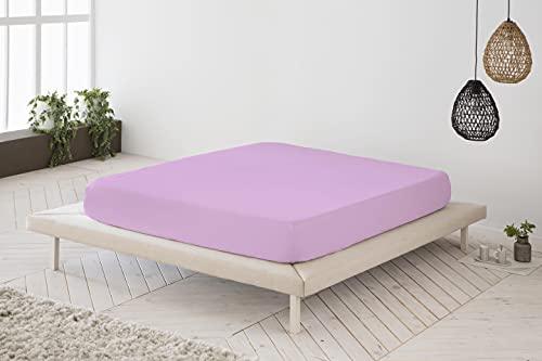 Sábana Bajera Ajustable Rosa 100% algodón Cama de 105 cm (105x190/200 cm)