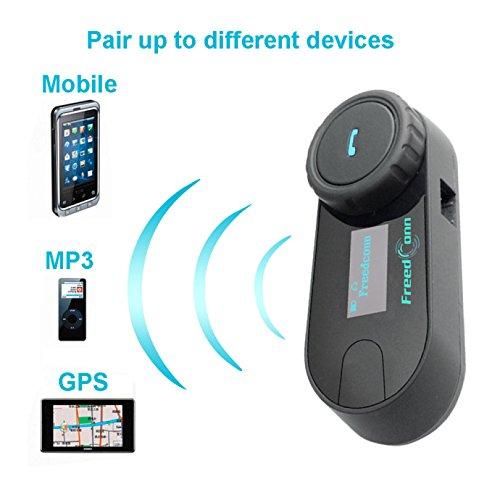 FreedConn Motorrad Intercom TCOM-SC Helm Bluetooth Headset-Gegensprechanlage für Motorrad-Skifahren LCD-Bildschirm / FM Radio / Freisprechen / Reichweite-800M / 2-3Riders Pairing / Schwarz - 5