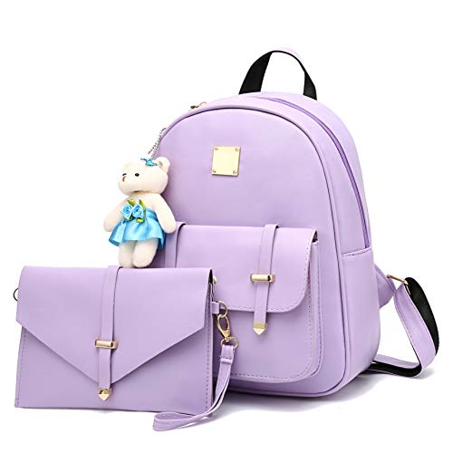 Barsine Mini Backpack Purse with Wallet Set for Teen Girls Teenager Small Bookbag Purple