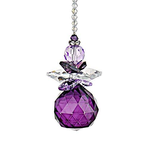 HampD Hanging Crystal Angel Suncatcher Rainbow Maker Guardian Angel Ornament for Home Window Decor Purple