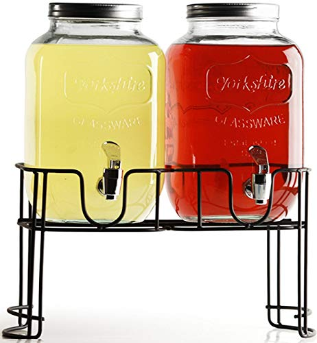 Circleware Double Mini Mason Jar Beverage Dispensers with Metal Stand Fun Sun Tea Party Entertainment Glassware Glass Water Pitcher for Iced Cold Punch Drinks 1 Gallon each Clear