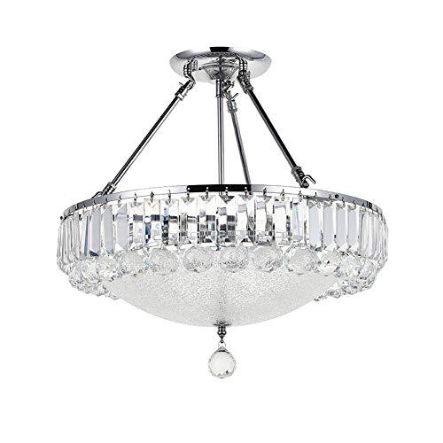 A1A9 Moderner Kristallleuchter, Deckenleuchten aus klarem K9 Kristalltröpfchen, Unterputz LED Pendelleuchte für Esszimmer, Wohnzimmer, Wohnzimmer, Größe: D46cm H45cm