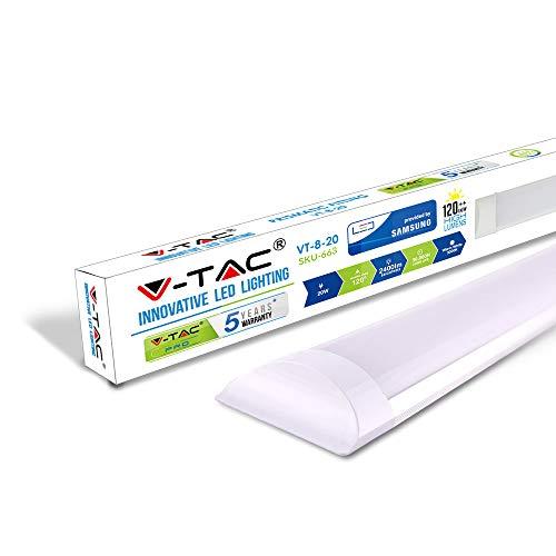 Plafoniera Luce Tubo LED Slim 20W, Luce Naturale 4000K 2400 Lumen Finitura Opaca