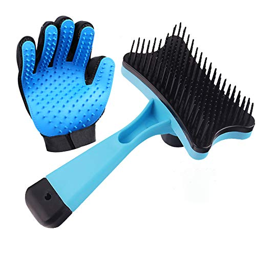AB Pet Grooming Glove with Brush, Hair Remover Comb Gentle Deshedding Efficient Pet Mitt Pet Massage Gloves Draw Dogs Cats Horses Long Short Fur Removing Tangles and Knots Tool (Blue)