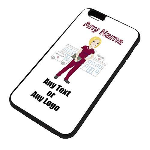 UNIGIFT Gepersonaliseerd geschenk - Verpleegkundige Rode Tuniek Blonde iPhone Case (NHS Design) Elke Naam Boodschap Unieke Apple TPU Cover - Vrouwelijke Job Beroep Uniform Ziekenhuis Tandheelkundige Personeel Ambulance Rood Kruis GP