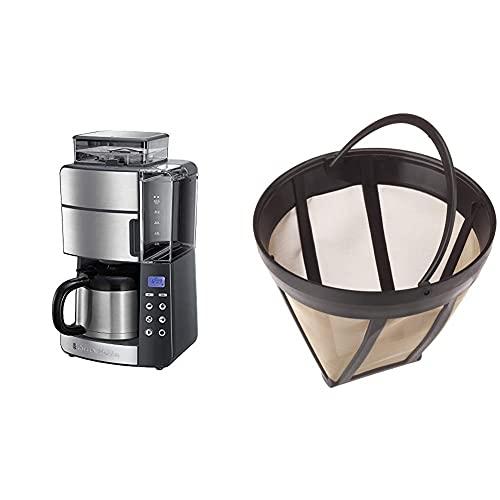 Russell Hobbs Kaffeemaschine mit Mahlwerk, Thermokanne 10 Tassen, digitaler programmierbarer Timer, 3-stufige Mahlgradeinstellung, 1000W, 25620-56 & ScanPart Goldtonfilter Größe 4