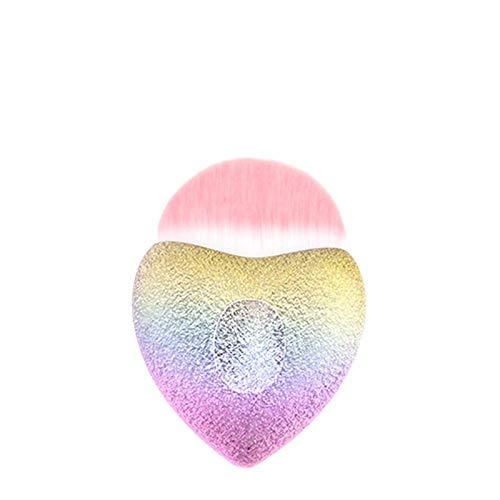 1pc Rainbow Heart Foundation fard à joues Brosse visage Brosse surligneur Blending cosmétique de maquillage Outil Dense cheveux synthétiques (Handle Color : Clear)