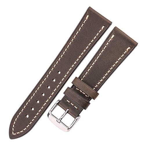 DLRBWAN Correa de reloj de cuero de vaca 18 mm 20 mm 22 mm 24 mm marrón azul rojo rojo de cuero genuino de cuero genuino con hebilla de plata de acero inoxidable