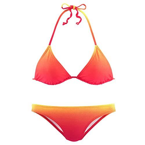 VEMOW Damen Zweiteilige Badeanzüge Sommer Neckholder Farbverlauf Bikini Sets Push Up Raffung Oberteil Bikinihose Mode Hohe Taille Strandmode Strandkleidung(Rot,S)