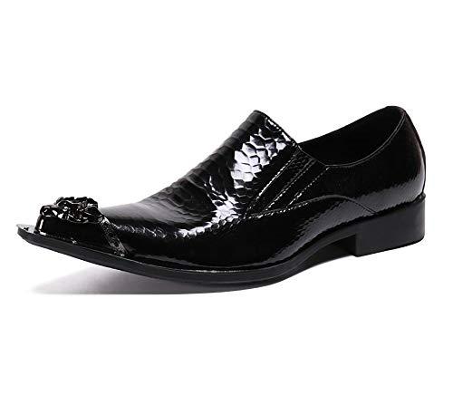 XLH Los Hombres Zapatos de Cuero de imitación de Piel de Serpiente Negro Modelo del Metal del Dedo del pie...