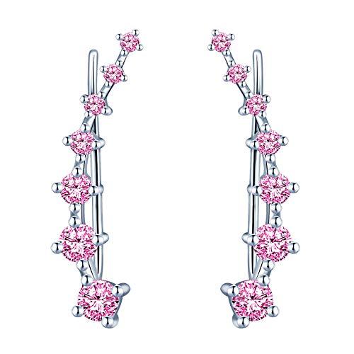 Yumilok, orecchini a clip da donna in argento Sterling 925 con cristalli e Argento, colore: rosa., cod. Y20074-pink