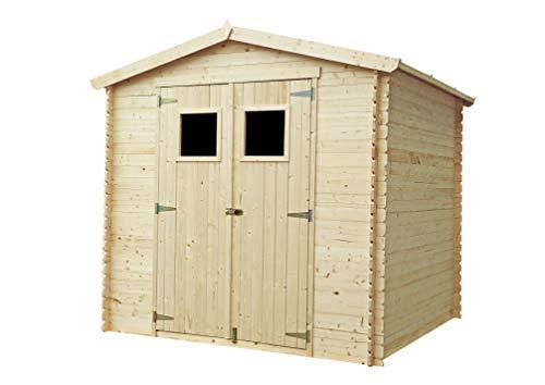 TIMBELA Holzhaus Gartenhaus M369+M369G - Gartenschuppen Holz mit Boden Imprägnierte B236xL226xH218 cm/ 4.33 m2 Lagerschuppen für Garten - Fahrrad Schuppen - Wasserfestes Dach