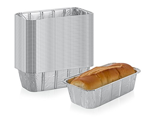 Multi Pack of Disposable Aluminum Foil loaf Bread Pans | 2Lb Capacity | Superior Heat Conductivity for Evenly Baked Cakes Breads Meatloaf and quiche  Standard Size  85 X 45 X 25 Inch  50Pack