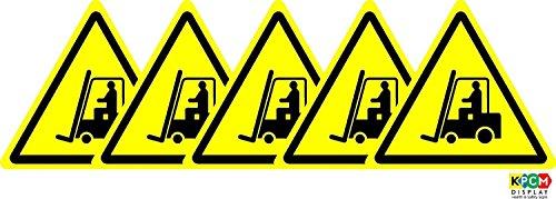 ISO Safety Label Sign - Internationale waarschuwing, Vork heftrucks en andere industriële voertuigen Symbool - Zelfklevende sticker 200mm Diameter (PACK OF 5 STICKERS)